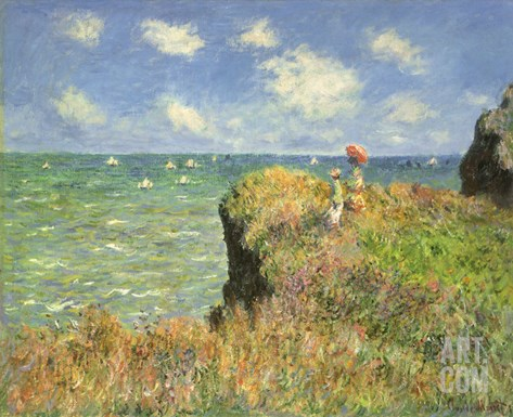 Cliff Walk at Pourville, 1882 Stretched Canvas Print