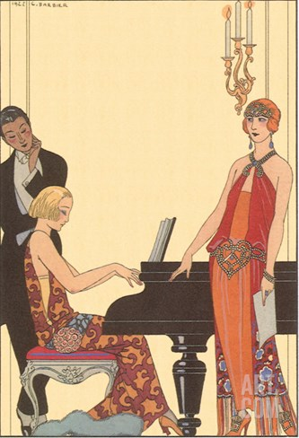 Woman Playing Piano, 1922 Stretched Canvas Print