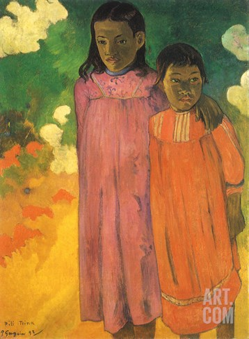 Piti Teina (Two Sisters), 1892 Stretched Canvas Print
