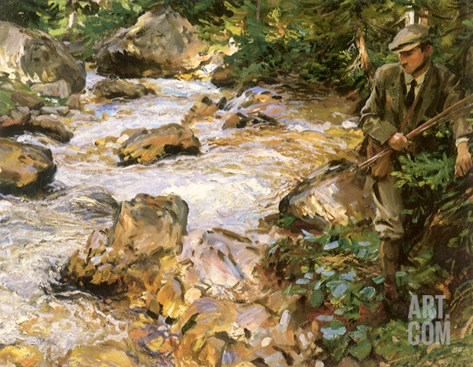 Trout Stream in the Tyrol, 1914 Stretched Canvas Print
