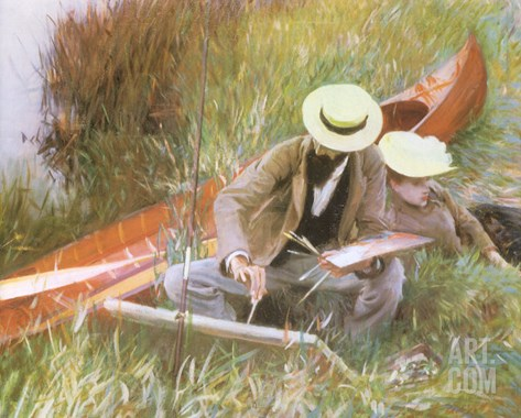 Painting Near the Water, 1889 Stretched Canvas Print