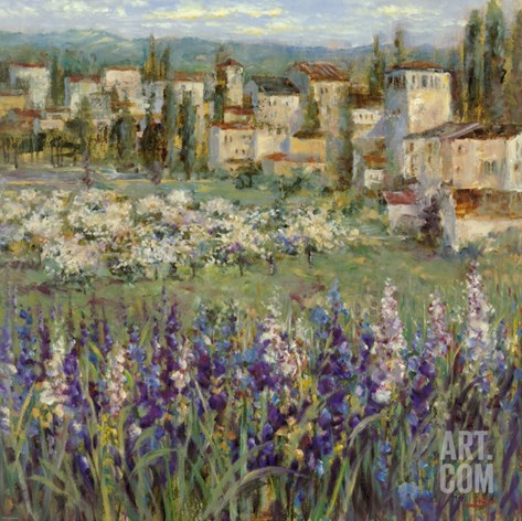 Provencal Village I Stretched Canvas Print