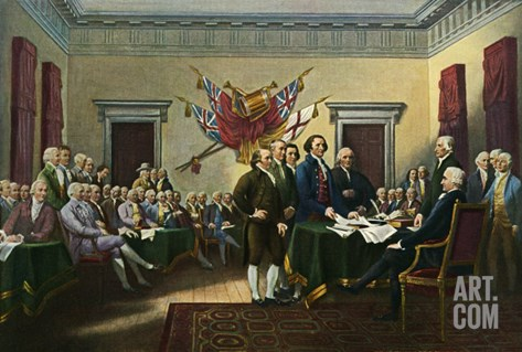 Signing the Declaration of Independence, 28th June 1776 Stretched Canvas Print