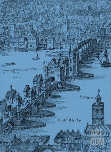 Old London Bridge, Elizabethan drawing Stretched Canvas Print