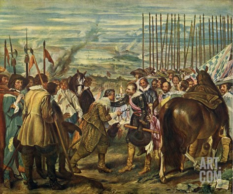 The Surrender of Breda (Las Lanzas) Stretched Canvas Print