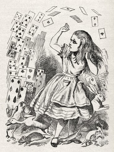 Alice returning from Wonderland, surrounded by cards and animals Stretched Canvas Print