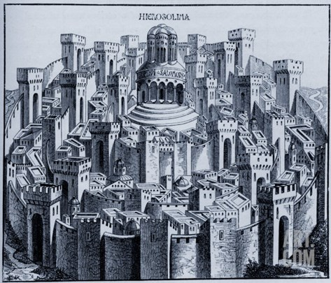 Medieval plan of Jerusalem from a woodcut in the 'Liber chronicarum mundi' Stretched Canvas Print