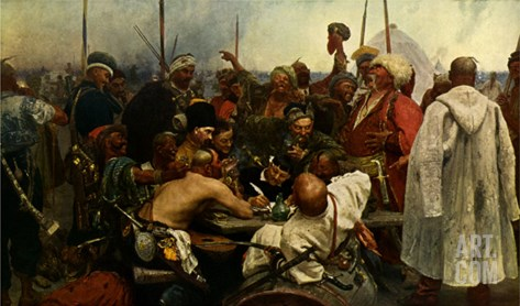 Reply of the Zaporozhian Cossacks after painting by Ilya Repin, 1880 - 1891 Stretched Canvas Print