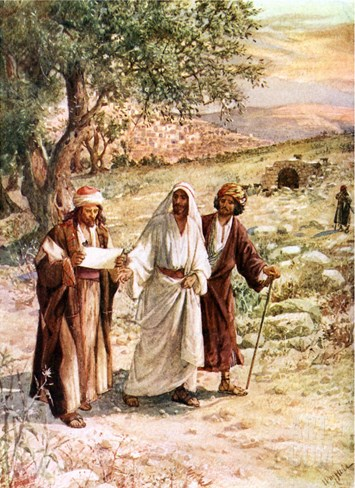 Two disciples walk with the risen Jesus on the road to Emmaus, unaware who he is Stretched Canvas Print