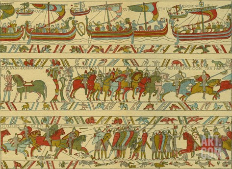 Bayeux tapestry, Norman attack on England Stretched Canvas Print