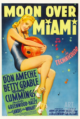 Moon over Miami, Betty Grable, 1941 Stretched Canvas Print