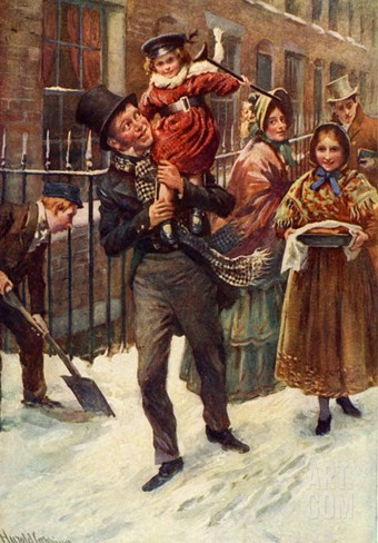 Charles Dickens's 'A Christmas Carol' : portrait of Bob Cratchit and Tiny Tim Stretched Canvas Print