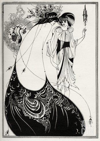 The Peacock Skirt' - Aubrey Beardsley 's illustration for 'salome ' by Oscar Wilde Stretched Canvas Print