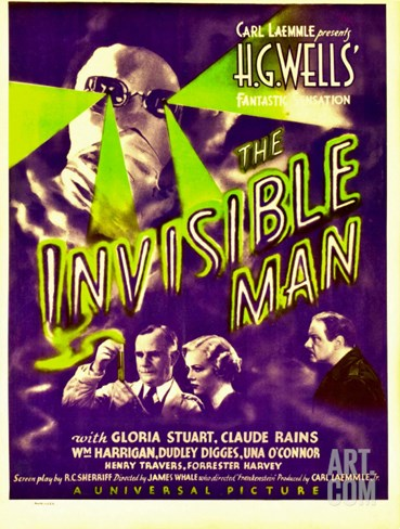 """The Invisible Man"", Claude Rains, Henry Travers, Gloria Stuart, William Harrigan on Window Card Stretched Canvas Print"