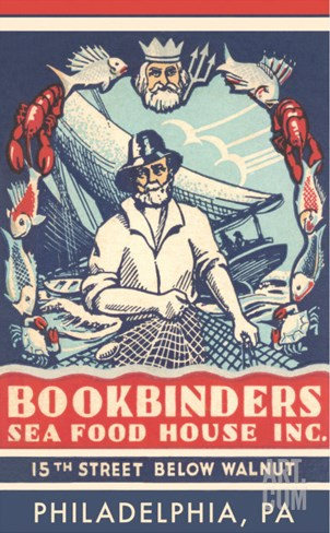 Bookbinders Seafood House Advertisement Stretched Canvas Print