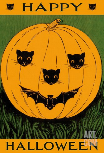 Jack O'Lantern with Cats and Bat Stretched Canvas Print