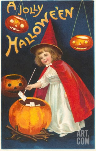 Halloween, Little Witch with Pumpkin Cauldron Stretched Canvas Print
