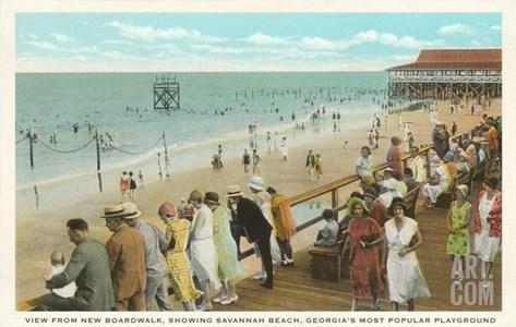Boardwalk, Savannah Beach, Georgia Stretched Canvas Print