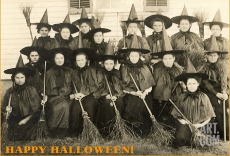 Class Picture of Witches Stretched Canvas Print