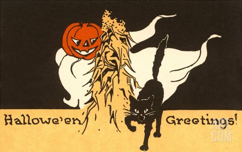Halloween Greetings, Black Cat, Jack O'Lantern Stretched Canvas Print