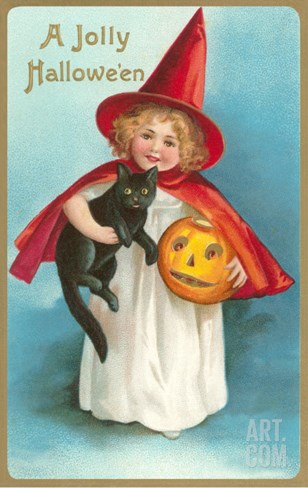 A Jolly Halloween, Little Girl Witch with Cat and Jack O'Lantern Stretched Canvas Print