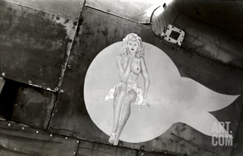 Nose Art, Pin-Up Stretched Canvas Print