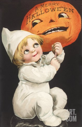 Child with Jack O'Lantern Stretched Canvas Print