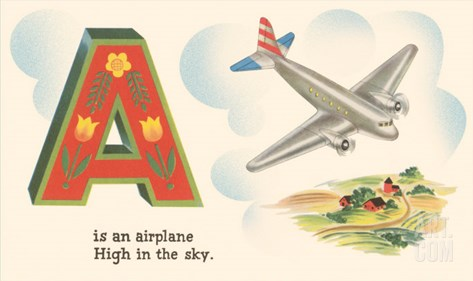 A is an Airplane Stretched Canvas Print