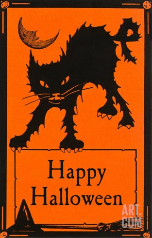 Happy Halloween, Black Cat Stretched Canvas Print