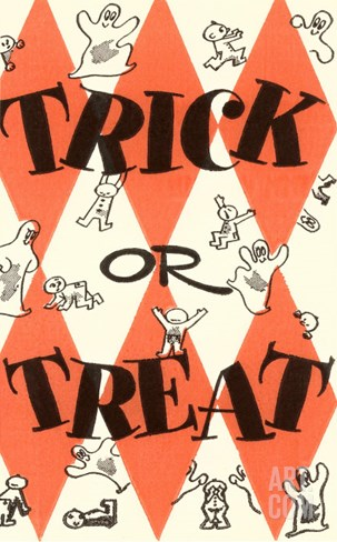 Halloween, Trick or Treat Stretched Canvas Print