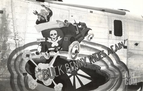 Nose Art, Buck Benny Rides Again Stretched Canvas Print
