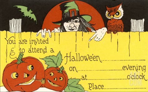 Halloween Party Invitation, Witch, Jack O'Lanterns Stretched Canvas Print