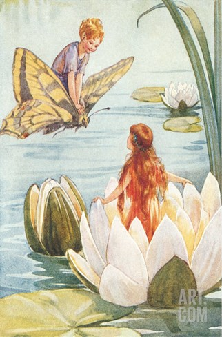 Boy Riding Butterfly and Girl in Water Lily Stretched Canvas Print
