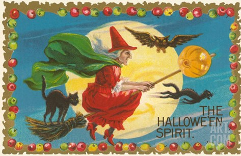 The Halloween Spirit, Witch on Broom Stretched Canvas Print