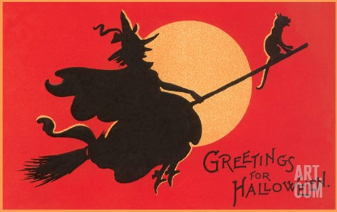 Greetings for Halloween, Witch on Broomstick Stretched Canvas Print
