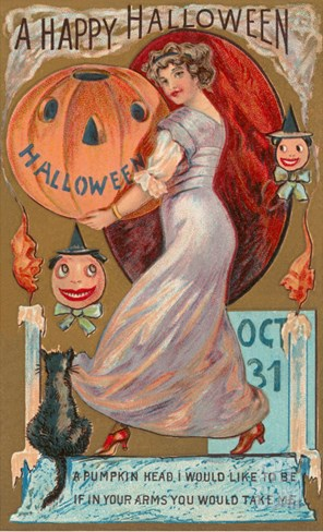 A Happy Halloween, Victorian Lady with Jack O'Lantern Stretched Canvas Print