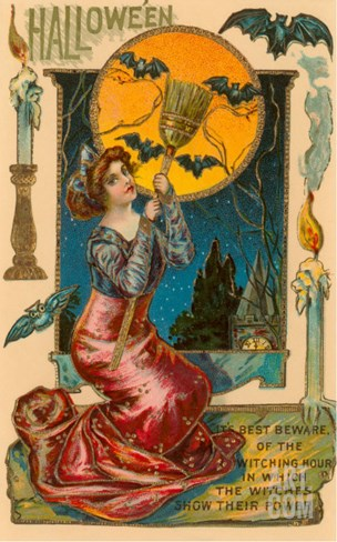 Halloween, Attractive Witch with Poem Stretched Canvas Print