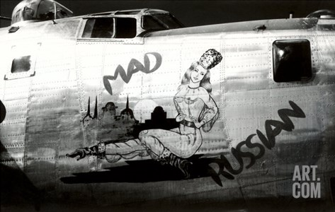 Nose Art, Mad Russian, Pin-Up Stretched Canvas Print