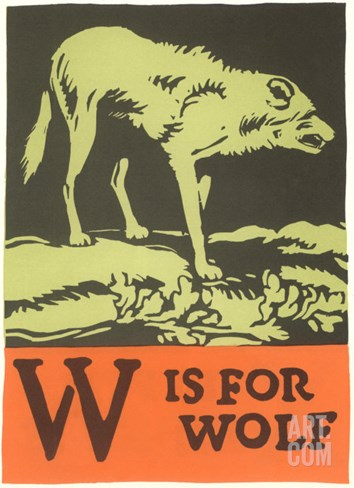 W is for Wolf Stretched Canvas Print
