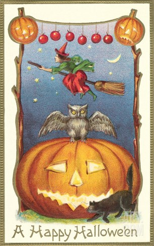 Witch, Owl Perched on Jack O'Lantern Stretched Canvas Print