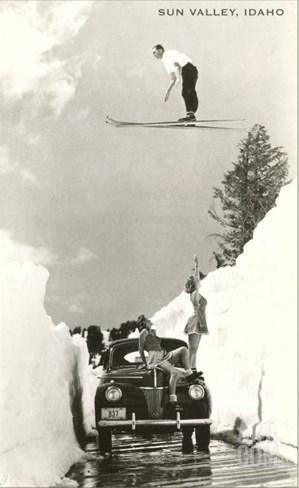 Sun Valley, Idaho, Ski Jumper Over Car Stretched Canvas Print
