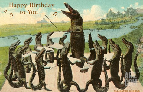 Happy Birthday, Alligator Chorus Stretched Canvas Print