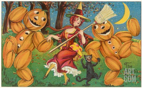 The Witch's Dance, Jack O'Lanterns, Cat Stretched Canvas Print
