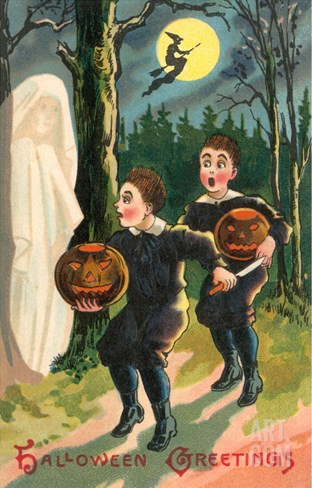 Halloween Greetings, Children with Ghost Stretched Canvas Print