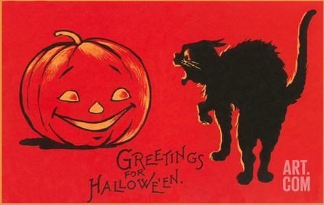 Greetings for Halloween, Black Cat and Jack O'Lantern Stretched Canvas Print