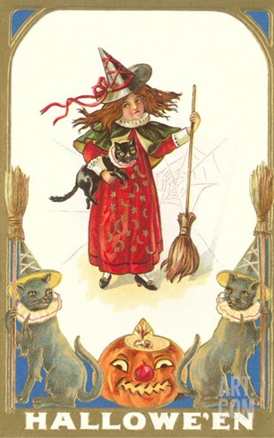 Halloween, Girl Witch with Cats Stretched Canvas Print