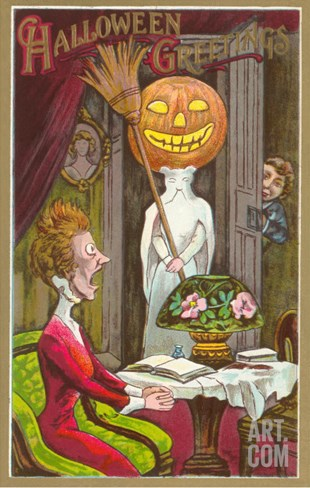 Halloween Greetings, Jack O'Lantern, Ghost and Shocked Lady Stretched Canvas Print