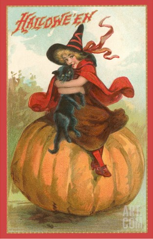 Halloween, Victorian Witch on Pumpkin Stretched Canvas Print