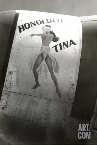 Nose Art, Honolulu Tina Pin-Up Stretched Canvas Print
