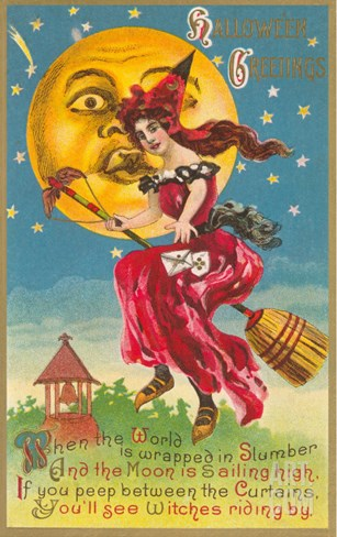 Halloween, Witch in Front of Moon Stretched Canvas Print